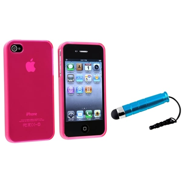 INSTEN Hot Pink TPU Phone Case Cover/ Mini Blue Stylus for Apple iPhone 4/ 4S