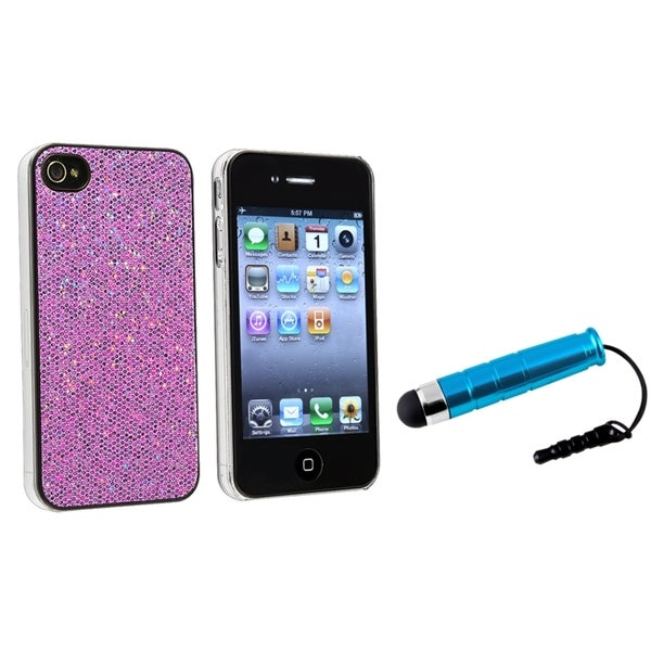 INSTEN Purple Bling Phone Case Cover/ Mini Blue Stylus for Apple iPhone 4/ 4S