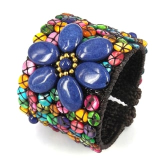 Handmade Precious Navy Blue Florals Mix Lapis and Shell Cuff (Thailand)
