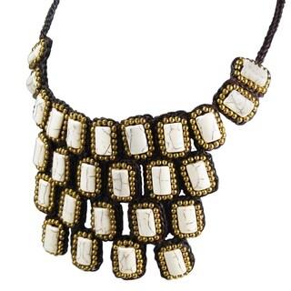 Handmade Mosaic Droplets Stone Statement Brass Necklace (Thailand)