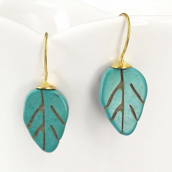 Floral Leaf Turquoise French Hook Brass Earrings (Thailand)