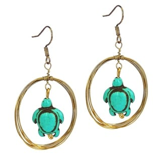 Handmade Sea Turtle Multi Strand Dangle Hoop Brass Earrings (Thailand)