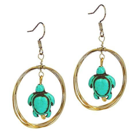 Handmade Sea Turtle Multi Strand Dangle Hoop Brass Earrings (Thailand) - Blue