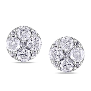 New!Miadora 10k White Gold 1ct TDW Diamond Stud Earrings