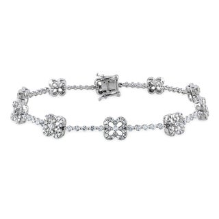 Miadora Signature Collection 10k White Gold White Sapphire 1ct TDW Diamond Bracelet (G-H, I1-I2)
