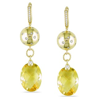 Miadora 14k Yellow Gold Citrine and 1/5ct TDW Diamond Earrings (G-H, SI1)