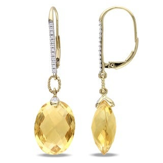 Miadora Signature Collection 14k Yellow Gold Citrine and 1/5ct TDW Diamond Earrings