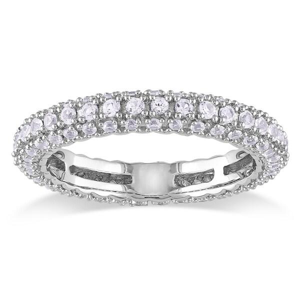 Miadora Sterling Silver White Sapphire Wedding Band