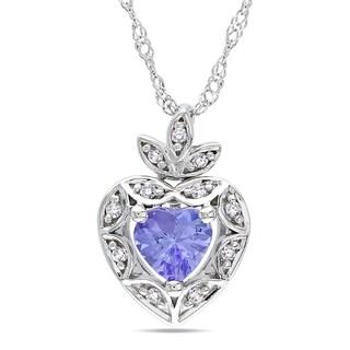 Miadora 10k Gold Tanzanite and Diamond Heart Necklace
