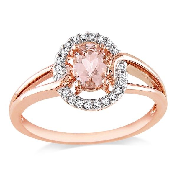 Miadora 10k Rose Gold Morganite and Round-cut 1/10ct TDW Diamond Ring (H-I, I2-I3)