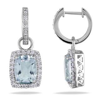 Miadora Signature Collection 14k White Gold Aquamarine and 1/2ct TDW Diamond Earrings (G-H, I1-I2)