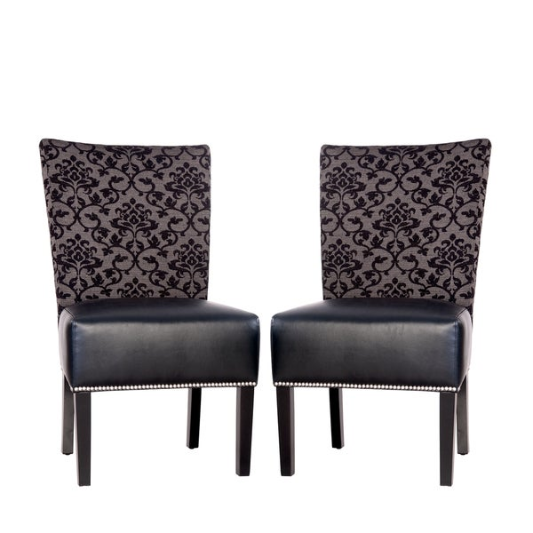 Portfolio Duet Emma Black Pearl Fabric and Black Renu Leather Armless Chair (Set of 2)