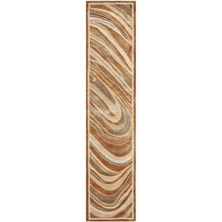 Martha Stewart Marble Swirl October Leaf Red Rug (2'3 x 10')