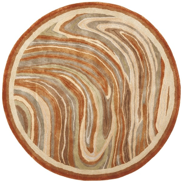 Martha Stewart by Safavieh Marble Swirl October Leaf Red Rug (6' Round)