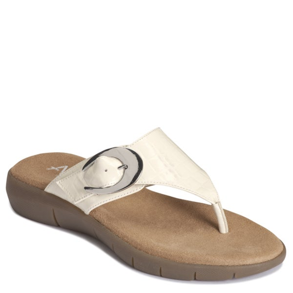 A2 by Aerosoles Women's 'Wipline' Man-Made Croc-Embossed Bone Flip-Flops