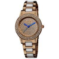 August Steiner Women's Crystal Glitz Ceramic Link Rose-Tone Bracelet Watch - BLue/WHITE/GOLD
