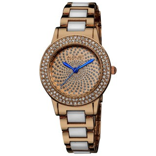 August Steiner Women's Crystal Glitz Ceramic Link Rose-Tone Bracelet Watch with FREE Bangle - White
