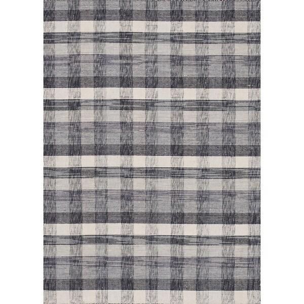 Hand-woven Carter Wool Beige/ Grey Rug (7'6 x 9'6)