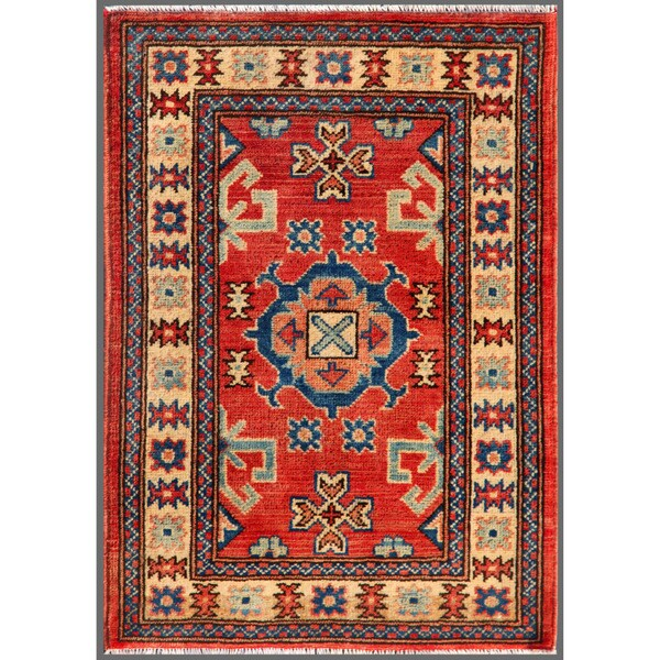 """Afghan Hand-Knotted Kazak Red/Ivory Traditional Wool Rug (2' x 2'11"""")"""