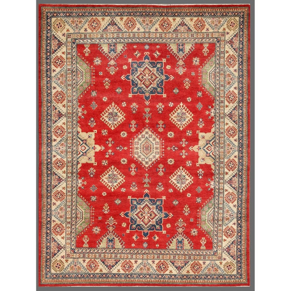 Afghan Hand-knotted Kazak Red/ Ivory Wool Rug (9' x 11'11)