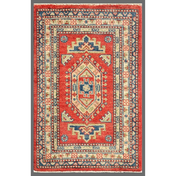 Afghan Hand-knotted Kazak Red/ Ivory Wool Rug (2' x 3'1)