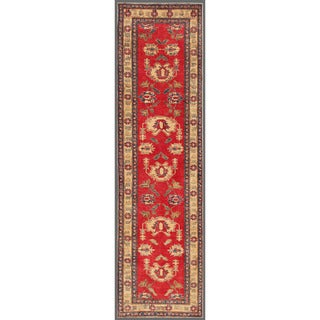 Herat Oriental Afghan Hand-knotted Kazak Red/ Ivory Wool Rug (2'10 x 10'4)