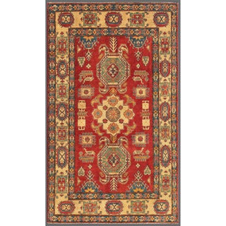 Herat Oriental Afghan Hand-knotted Kazak Red/ Gold Wool Rug (6'4 x 10'9)