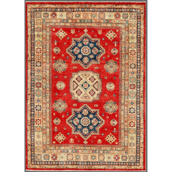 Afghan Hand-knotted Kazak Red/ Ivory Wool Rug (6'5 x 9'1)