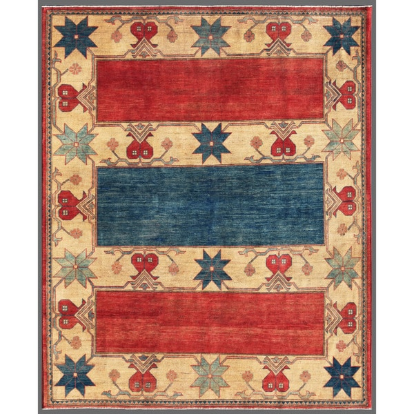 Afghan Hand-knotted Kazak Red/ Beige Wool Rug (6'8 x 8'1)