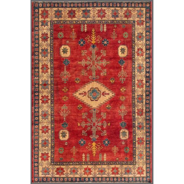 Afghan Hand-knotted Kazak Red/ Beige Wool Rug (7'1 x 10'6)