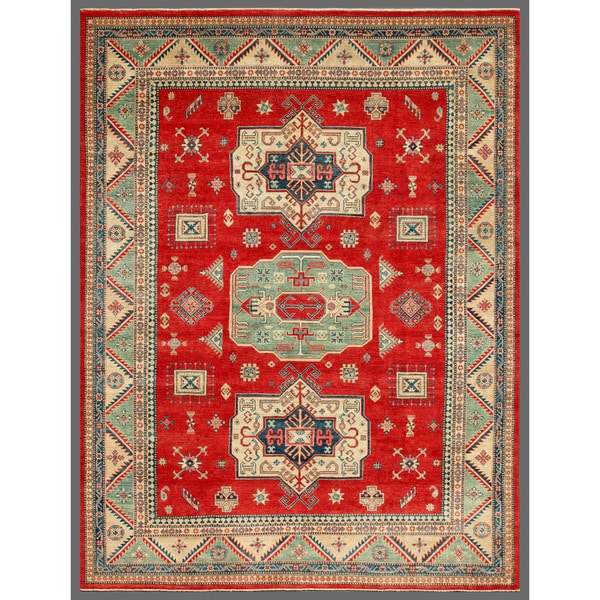 Herat Oriental Hand Tufted Wool Red Black Area Rug: Shop Herat Oriental Afghan Hand-knotted Kazak Red/ Green