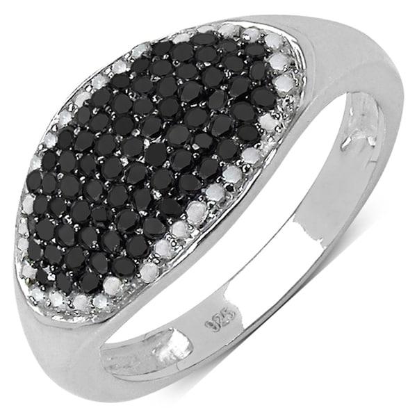 Malaika Sterling Silver 1/2ct TDW Black and White Diamond Ring (I-J, I3)