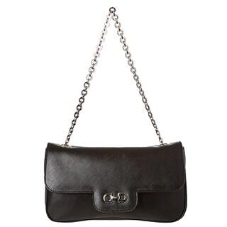 Salvatore Ferragamo Women's 'Luciana' Black Embossed Calfskin Shoulder Bag