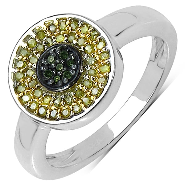 Malaika Sterling Silver 1/4ct TDW Green and Yellow Diamond Ring