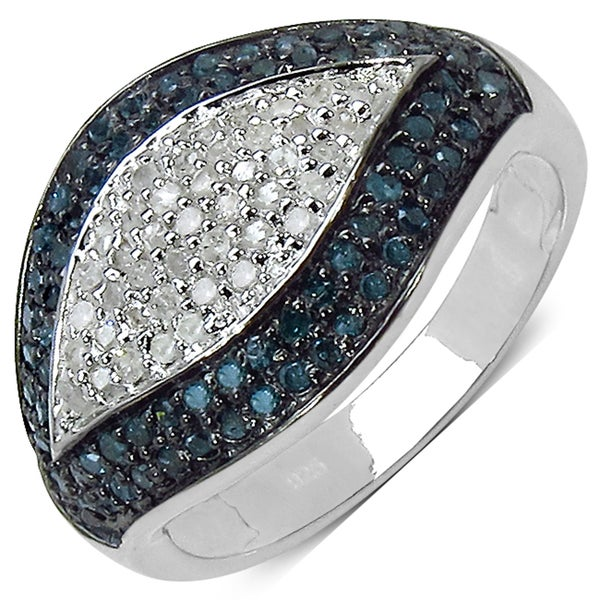 Malaika Sterling Silver 3/5ct TDW White and Blue Diamond Ring (I-J, I3)