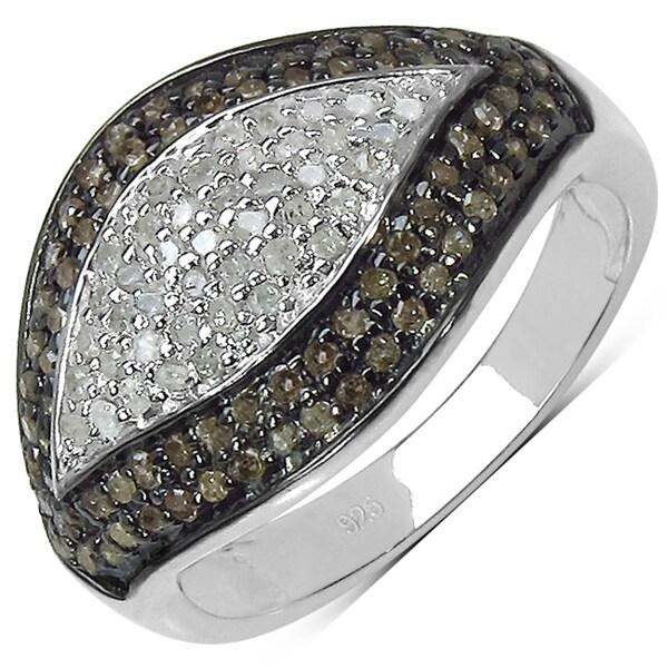 Malaika Sterling Silver 3/5ct TDW White and Champagne Diamond Ring (I-J, I3)
