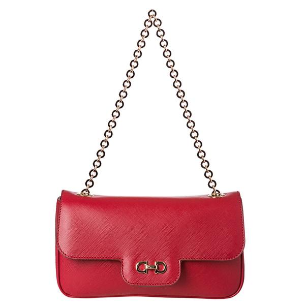 Salvatore Ferragamo Women's 'Luciana' Red Embossed Calfskin Shoulder Bag