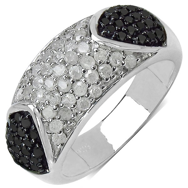 Malaika Sterling Silver 1ct TDW White and Black Diamond Ring