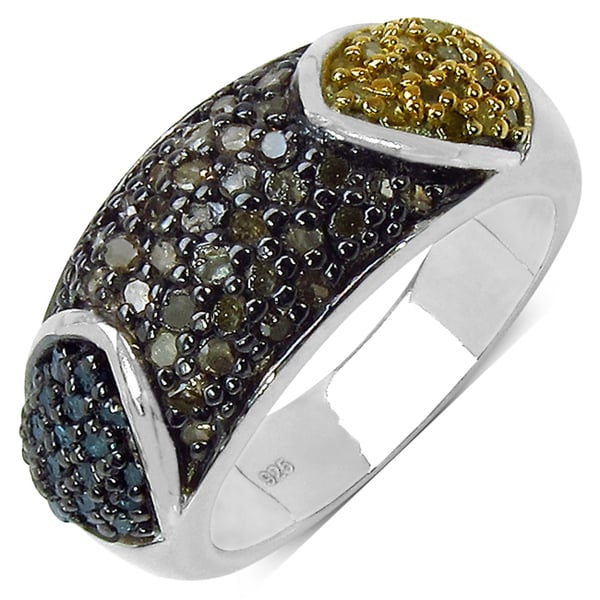 Malaika Sterling Silver 1ct TDW Multi-colored Diamond Ring