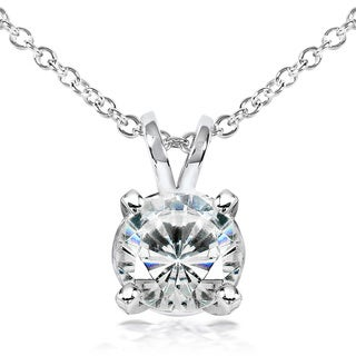 Annello 14k Gold Round Shape Moissanite Solitaire Necklace