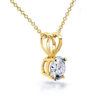 Annello by Kobelli 14k Gold 6.5mm Round Moissanite Solitaire Necklace