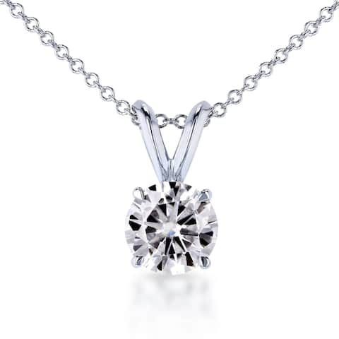 Annello by Kobelli 14k White Gold 1ct Round Brilliant-cut Moissanite (H-I) Bunny-ear Solitaire Necklace