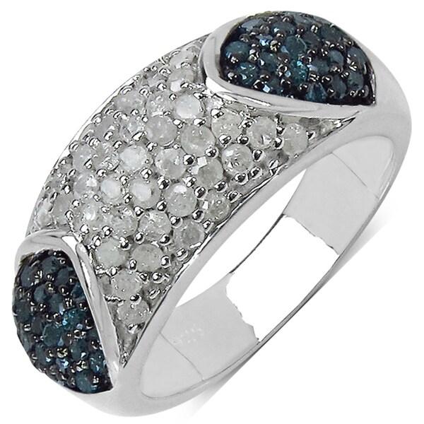 Malaika Sterling Silver 1ct TDW White and Blue Diamond Ring