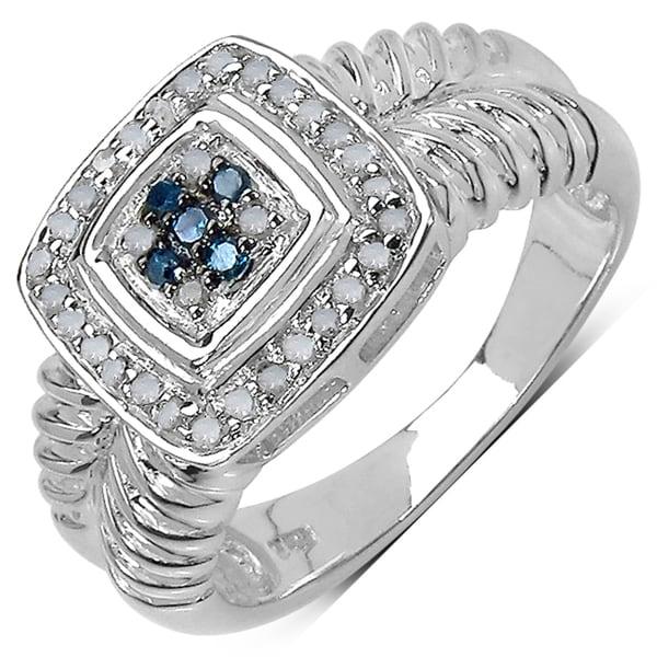 Malaika Sterling Silver 1/5ct TDW Blue and White Diamond Ring (I-J, I3)