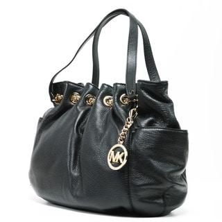 MICHAEL Michael Kors Women's 'Jet Set' Black Leather Chain Ring Tote Bag