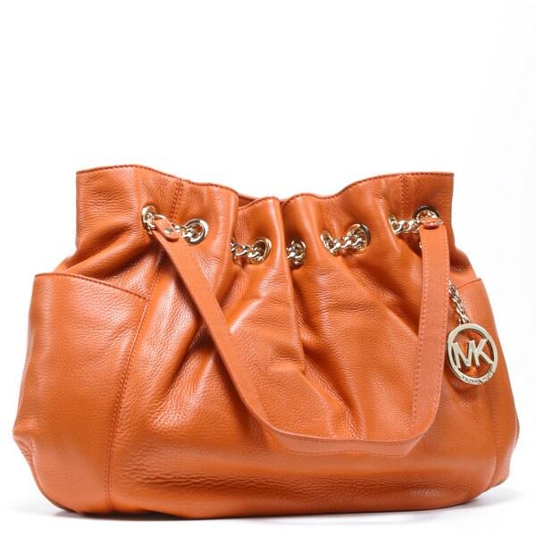 MICHAEL Michael Kors Women's 'Jet Set' Tangerine Leather Chain Ring Tote Bag