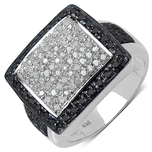 Malaika Sterling Silver 3/5ct TDW White and Black Diamond Ring (I-J, I3)