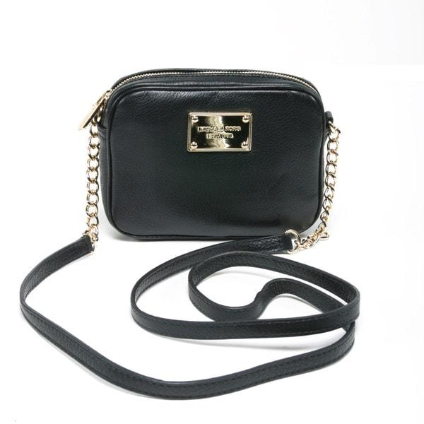 Michael Kors Women's 'Jet Set' Black Leather Mini Crossbody Handbag