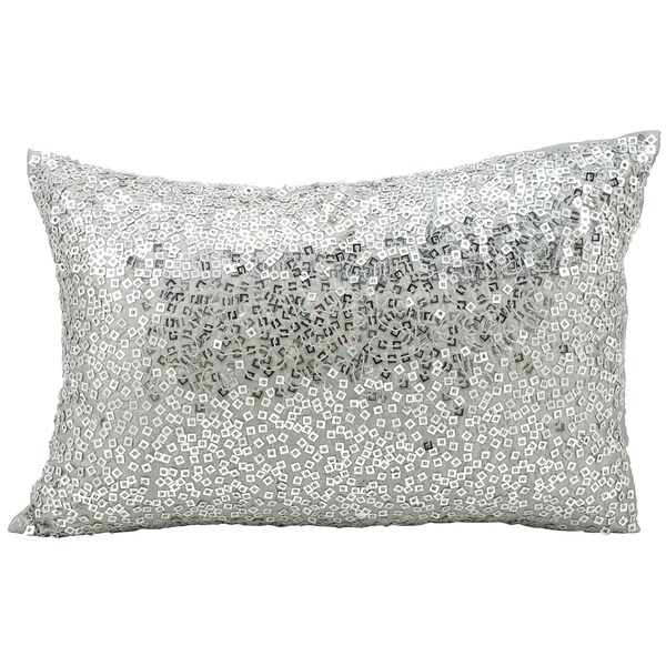 Mina Victory Luminescence Fully Beaded Grey Throw Pillow (12-inch x 18-inch) by Nourison