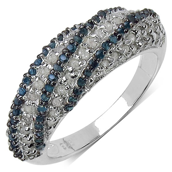 Malaika Sterling Silver 5/4ct TDW Blue/ White Diamond Cocktail Ring